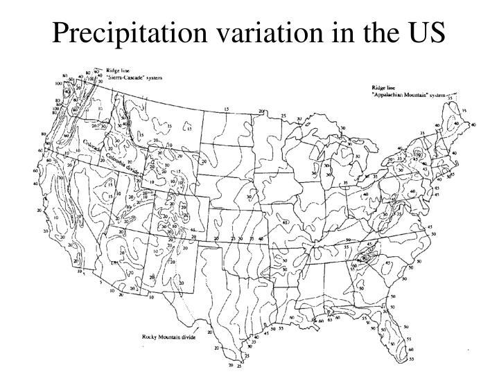 Precipitation variation in the US