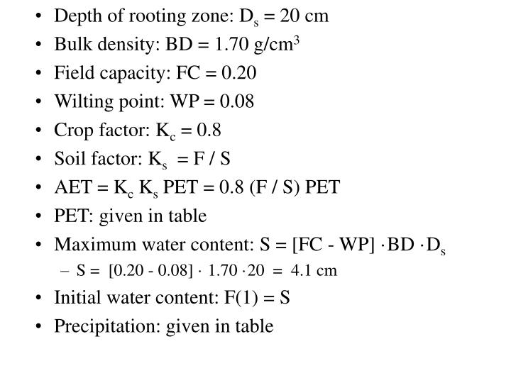 Depth of rooting zone: D