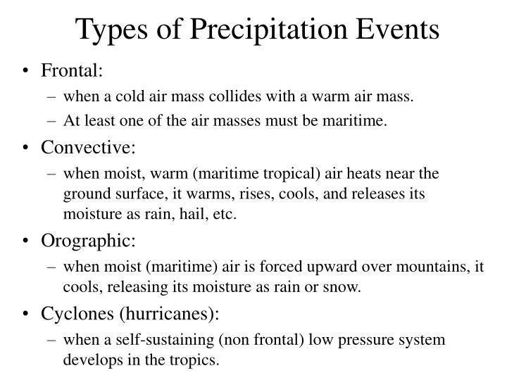 Types of Precipitation Events