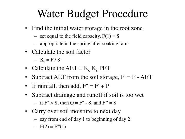 Water Budget Procedure
