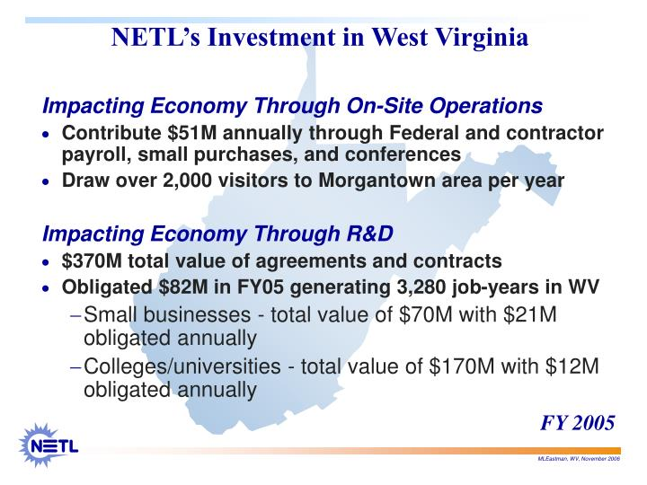 Netl s investment in west virginia