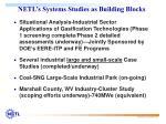 netl s systems studies as building blocks