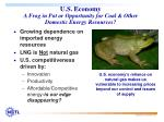 u s economy a frog in pot or opportunity for coal other domestic energy resources