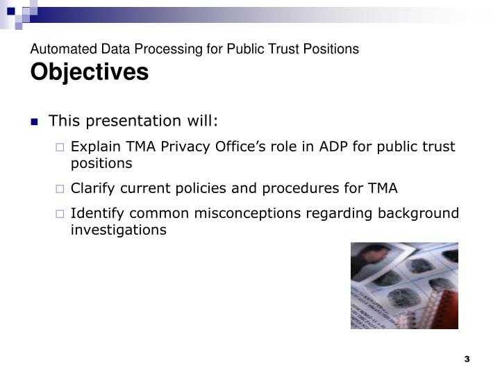 Automated data processing for public trust positions objectives