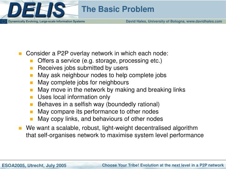 Consider a P2P overlay network in which each node: