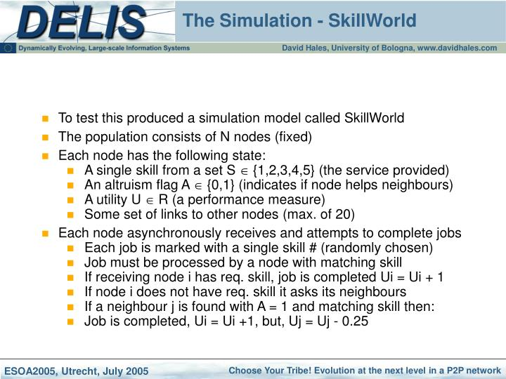 To test this produced a simulation model called SkillWorld