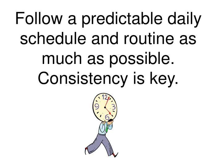 Follow a predictable daily schedule and routine as much as possible.