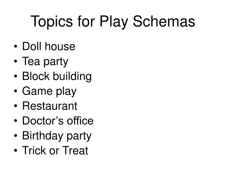 Topics for Play Schemas