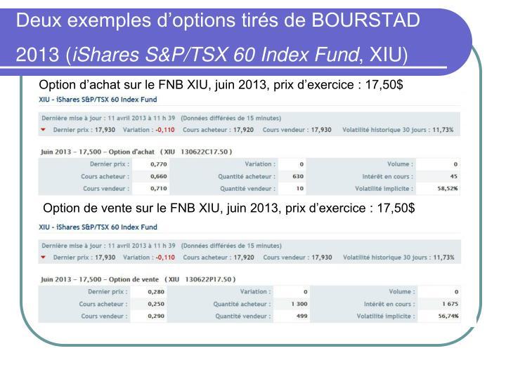 Deux exemples d'options tirés de BOURSTAD 2013 (