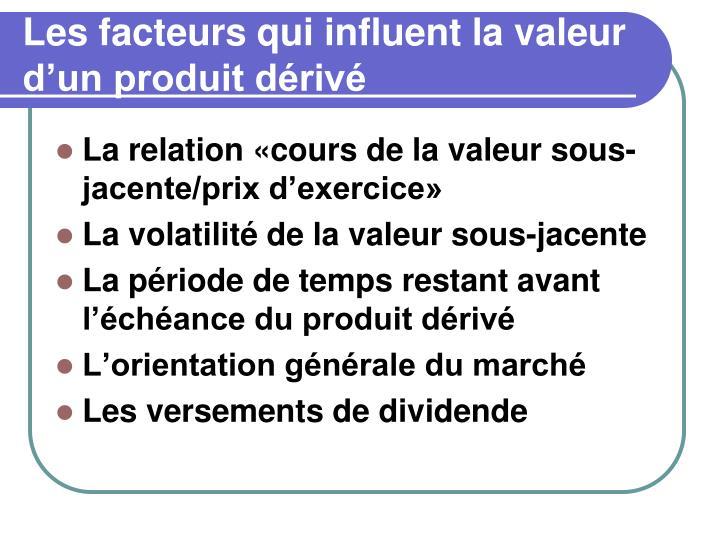 Les facteurs qui influent la valeur d'un produit dérivé