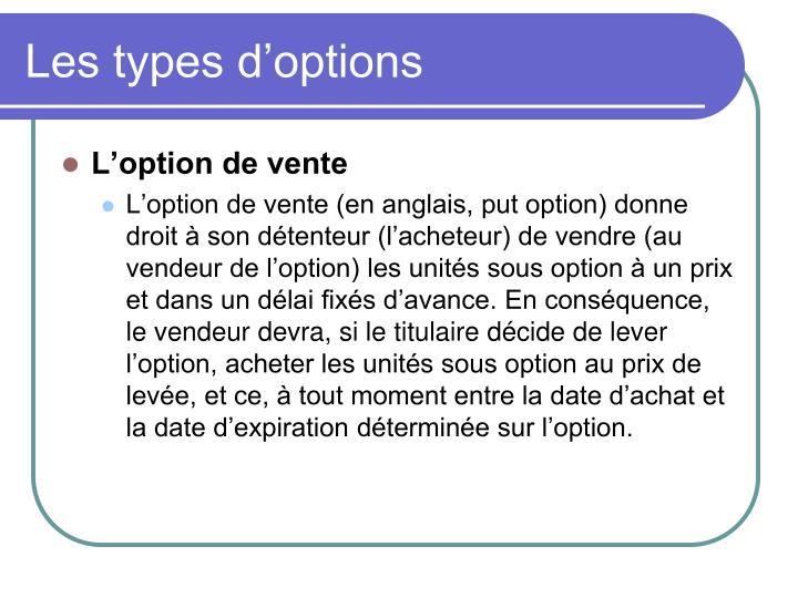 Les types d'options