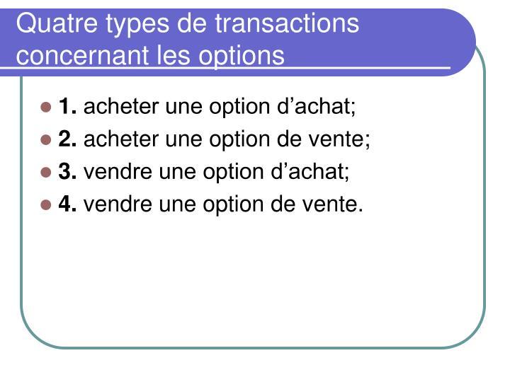 Quatre types de transactions concernant les options