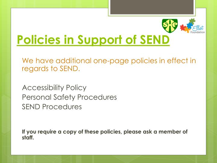 Policies in Support of SEND