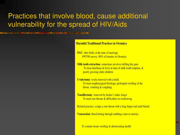 Practices that involve blood, cause additional vulnerability for the spread of HIV/Aids