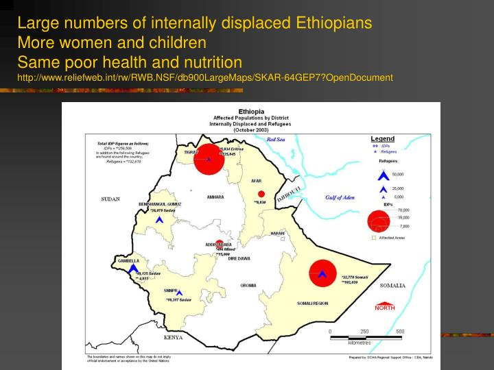 Large numbers of internally displaced Ethiopians