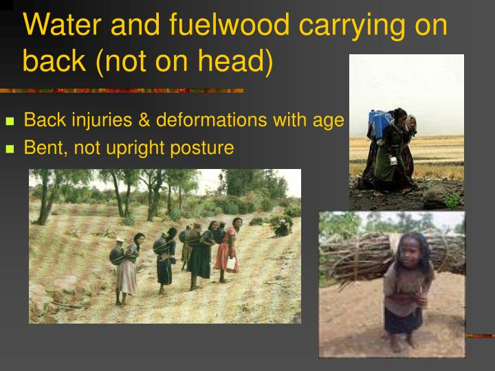 Water and fuelwood carrying on back (not on head)