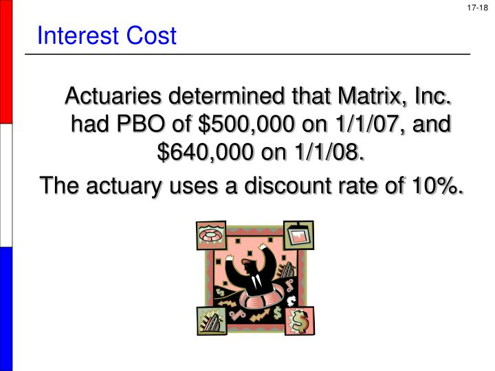 Actuaries determined that Matrix, Inc. had PBO of $500,000 on 1/1/07, and $640,000 on 1/1/08.