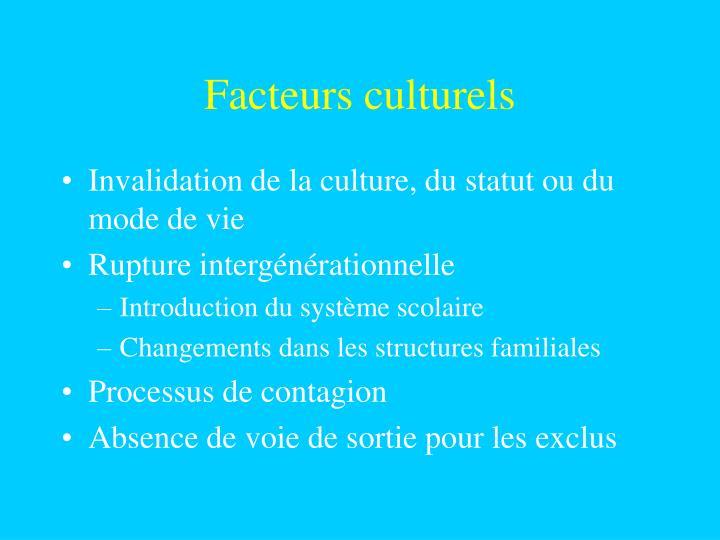 Facteurs culturels