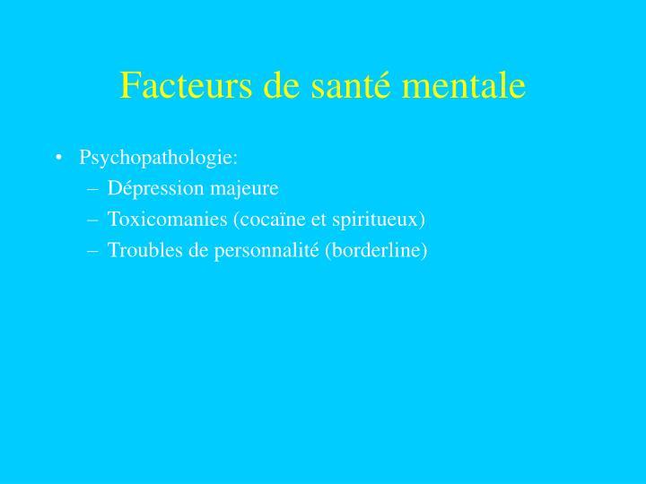 Facteurs de santé mentale