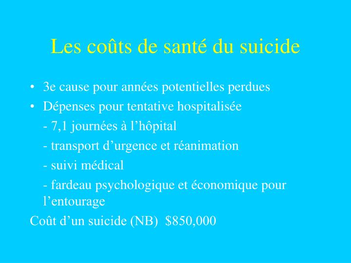 Les coûts de santé du suicide