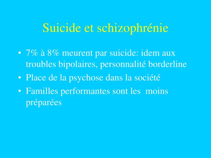 Suicide et schizophrénie