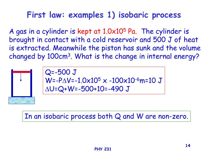 First law: examples 1) isobaric process