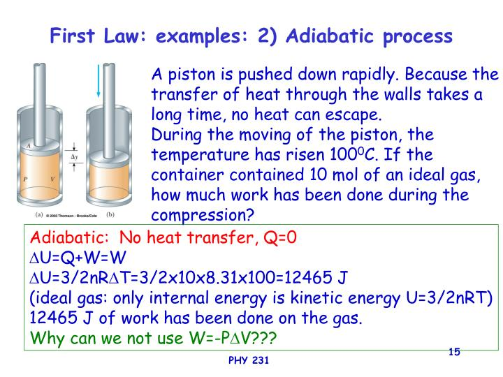 First Law: examples: 2) Adiabatic process