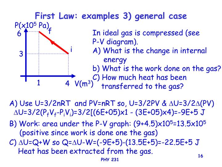 First Law: examples 3) general case