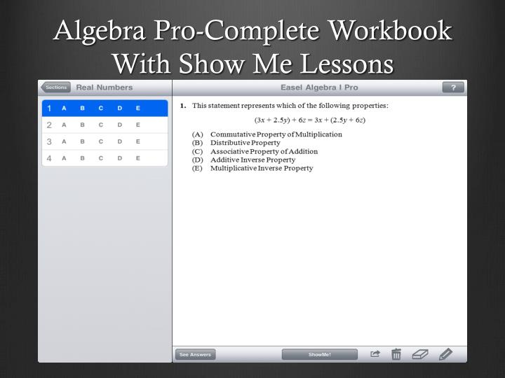 Algebra Pro-Complete Workbook With Show Me Lessons