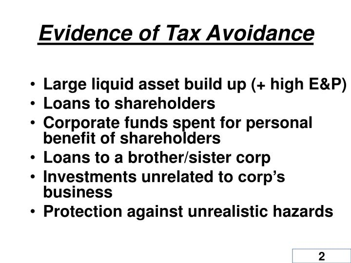 Evidence of Tax Avoidance