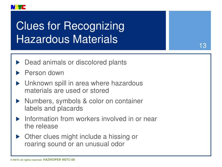 Clues for Recognizing Hazardous Materials