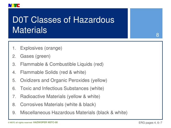 D0T Classes of Hazardous Materials