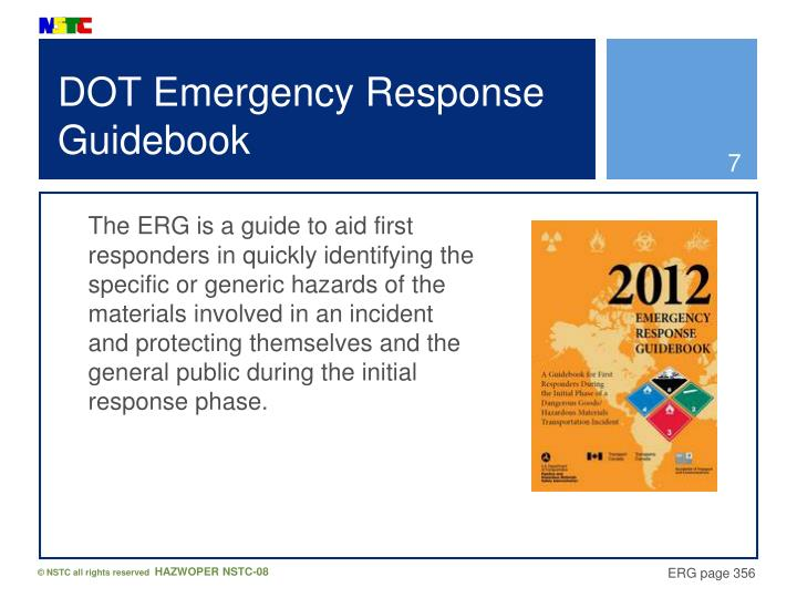 DOT Emergency Response Guidebook