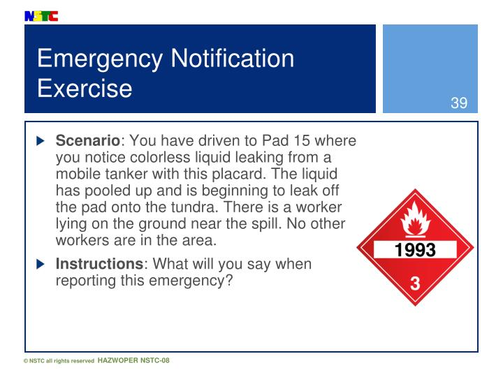 Emergency Notification Exercise