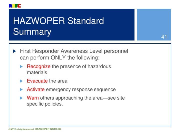 HAZWOPER Standard Summary