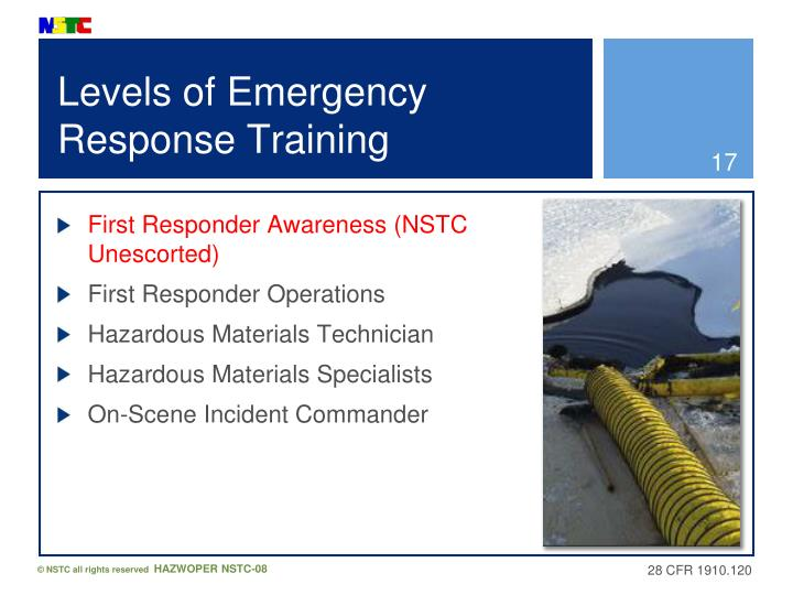 Levels of Emergency Response Training
