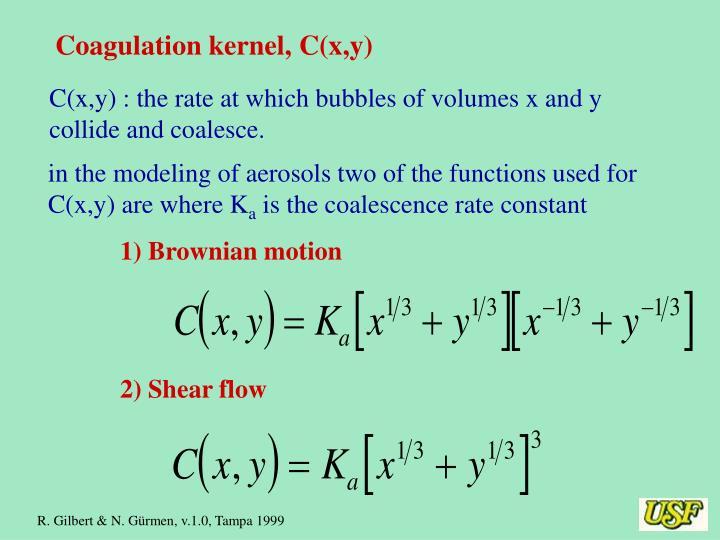 Coagulation kernel, C(x,y)