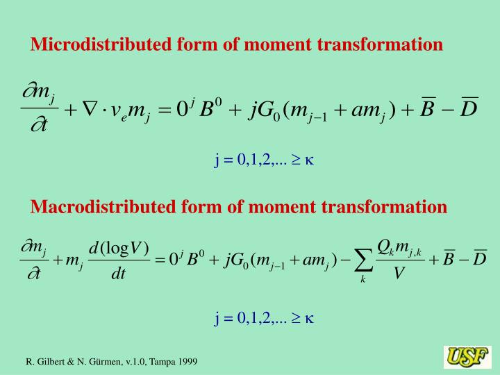 Microdistributed form of moment transformation