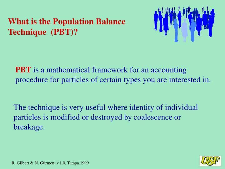 What is the Population Balance Technique  (PBT)?