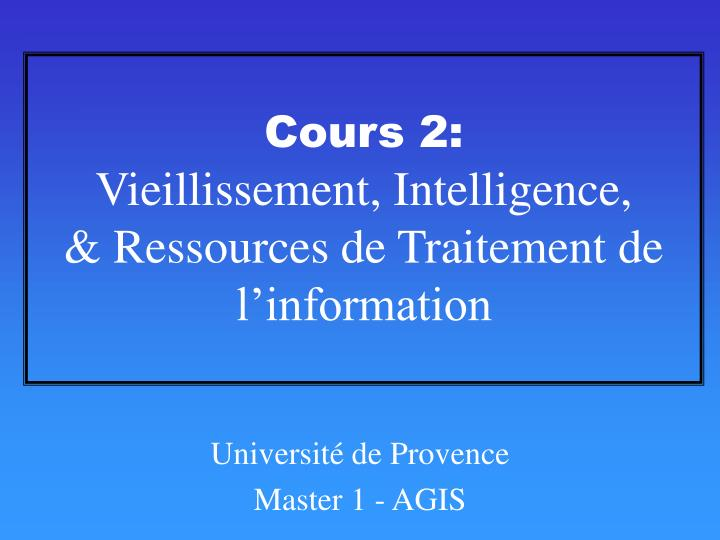 Cours 2: