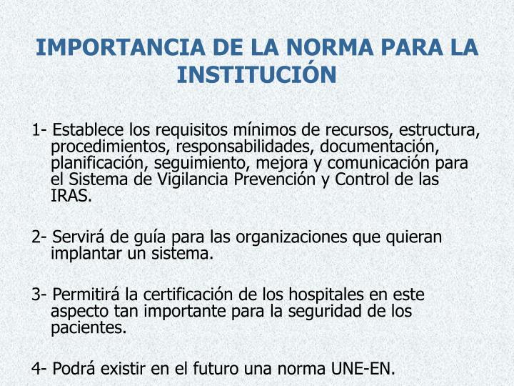 IMPORTANCIA DE LA NORMA PARA LA INSTITUCIÓN