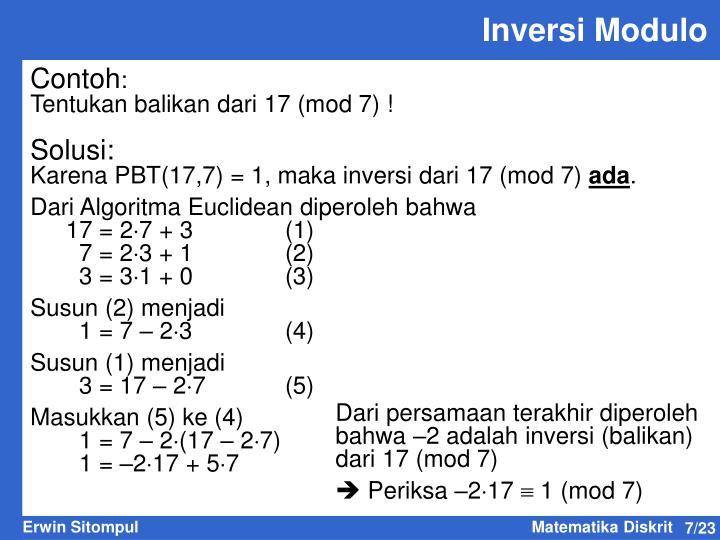 Inversi Modulo