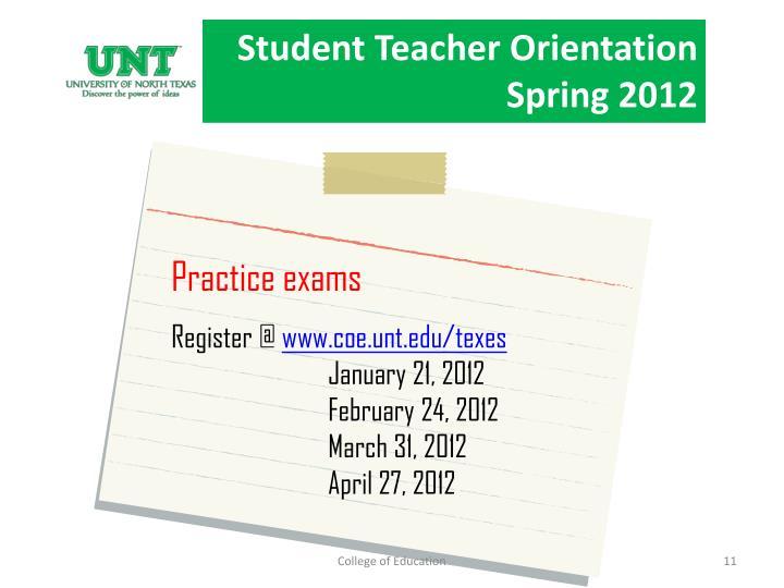 Student Teacher Orientation Fall 2010