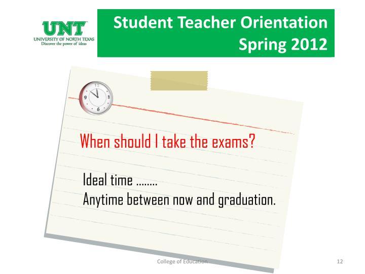 Student Teacher Orientation Spring 2012