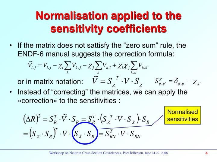 Normalisation applied to the sensitivity coefficients