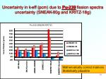 uncertainty in k eff pcm due to pu 239 fission spectra uncertainty sneak 80g and kritz 18g