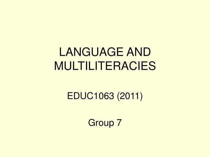 language and multiliteracies