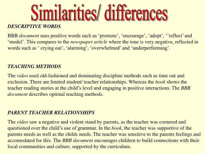 Similarities/ differences