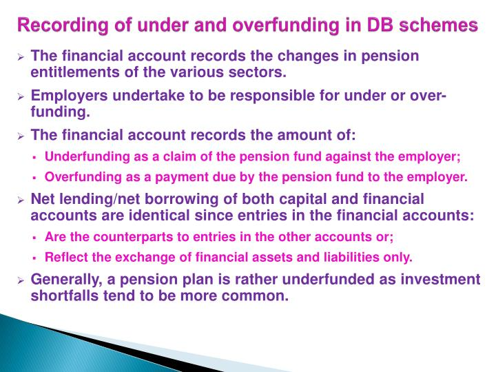 Recording of under and overfunding in DB schemes