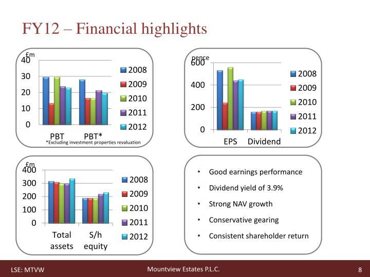 FY12 – Financial highlights